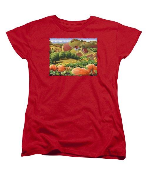 Farm Landscape - Autumn Rural Country Pumpkins Folk Art - Appalachian Americana - Fall Pumpkin Patch Women's T-Shirt (Standard Cut)