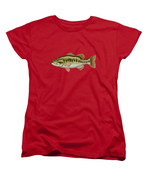 Largemouth Bass On Red Leather Women's T-Shirt (Standard Cut) by Serge Averbukh
