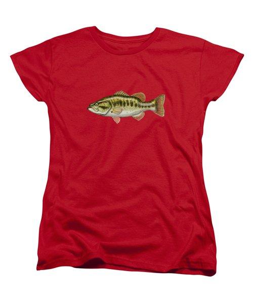 Largemouth Bass On Red Leather Women's T-Shirt (Standard Cut)