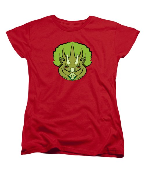 Women's T-Shirt (Standard Cut) featuring the digital art Triceratops Graphic Green by MM Anderson