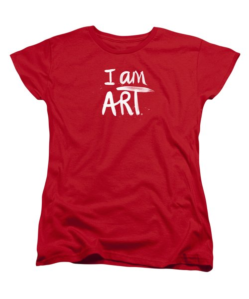 Women's T-Shirt (Standard Cut) featuring the mixed media I Am Art- Painted by Linda Woods