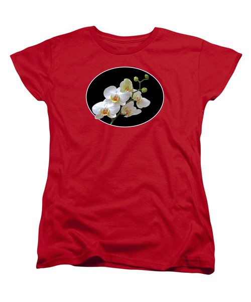 Orchids On Black And Red Women's T-Shirt (Standard Cut) by Gill Billington