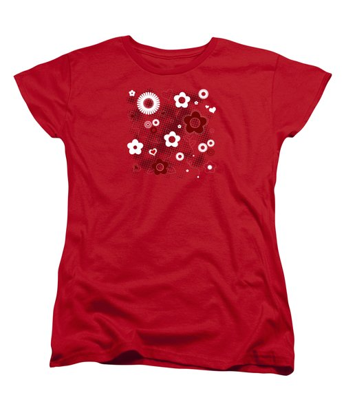 Floral And Hearts Valentine Pattern Women's T-Shirt (Standard Cut) by Serena King