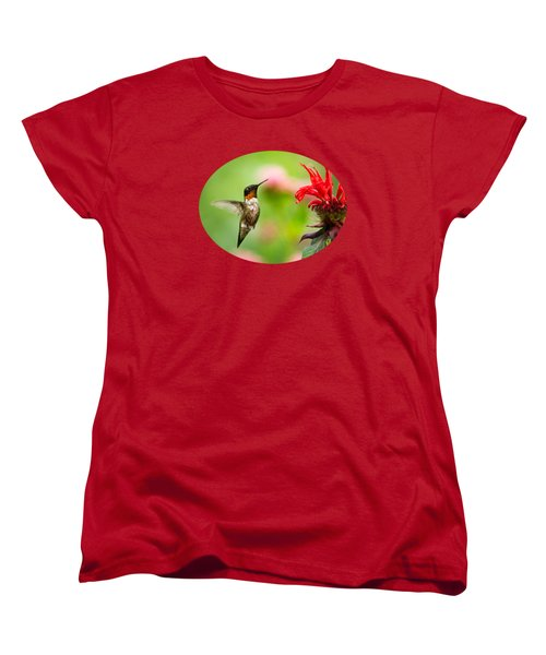 Male Ruby-throated Hummingbird Hovering Near Flowers Women's T-Shirt (Standard Cut) by Christina Rollo