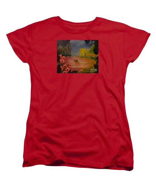 Asian Lillies Women's T-Shirt (Standard Cut) by Denise Tomasura