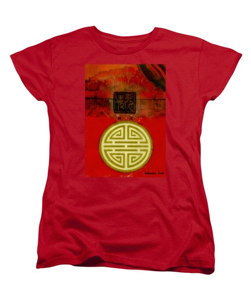 Women's T-Shirt (Standard Cut) featuring the painting Asian Red Encaustic by Bellesouth Studio