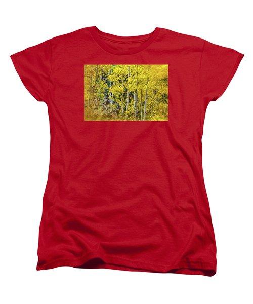Women's T-Shirt (Standard Cut) featuring the photograph Aspen Autumn Burst by Bill Gallagher