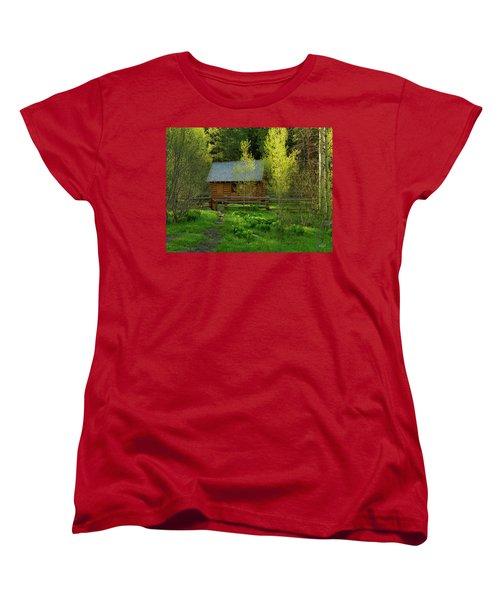 Women's T-Shirt (Standard Cut) featuring the photograph Aspen Cabin by Leland D Howard