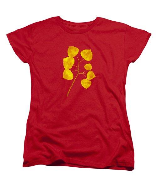 Women's T-Shirt (Standard Cut) featuring the photograph Aspen Tree Leaf Art by Christina Rollo