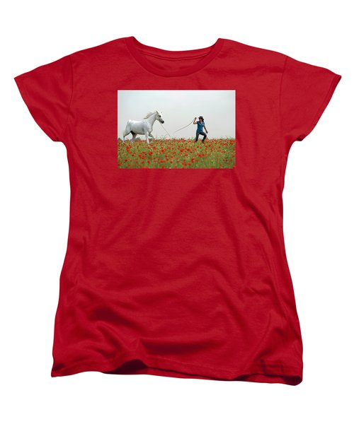 At The Poppies' Field... 2 Women's T-Shirt (Standard Cut) by Dubi Roman