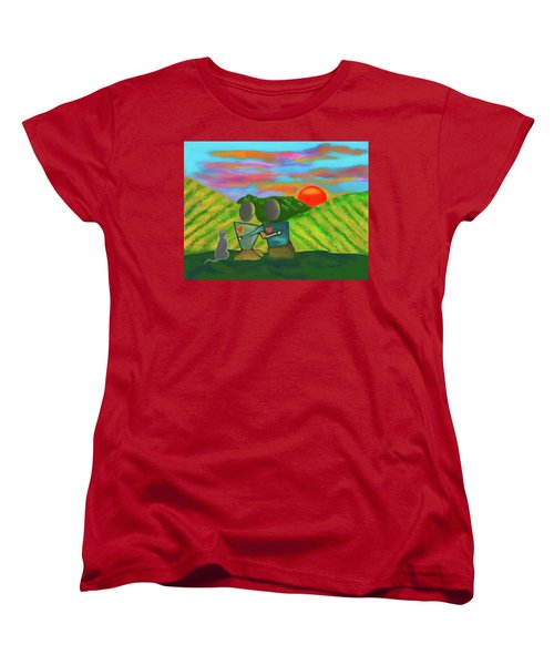 At The Vineyard Women's T-Shirt (Standard Cut) by Haleh Mahbod