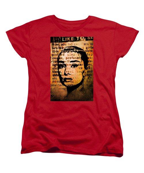 Women's T-Shirt (Standard Cut) featuring the mixed media Audrey Hepburn #4 by Kim Gauge