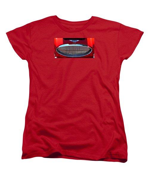 Women's T-Shirt (Standard Cut) featuring the photograph Austin Healey Grille by Spyder Webb