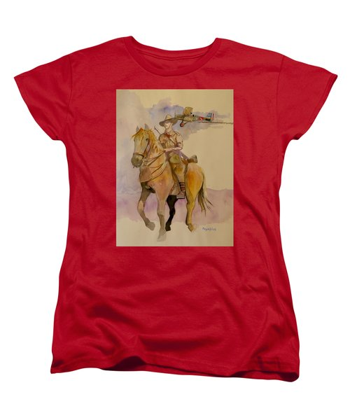 Women's T-Shirt (Standard Cut) featuring the painting Australian Light Horse Regiment. by Ray Agius