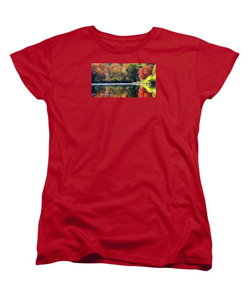Women's T-Shirt (Standard Cut) featuring the photograph Autumn At Laurel Lake by Angela Davies
