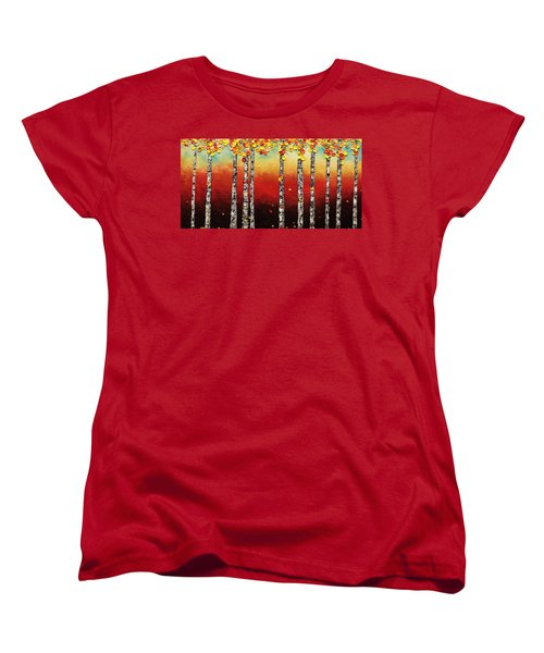 Women's T-Shirt (Standard Cut) featuring the painting Autumn Birch Trees by Carmen Guedez
