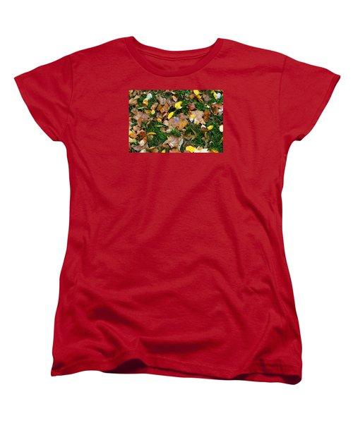 Women's T-Shirt (Standard Cut) featuring the photograph Autumn Carpet 002 by Dorin Adrian Berbier