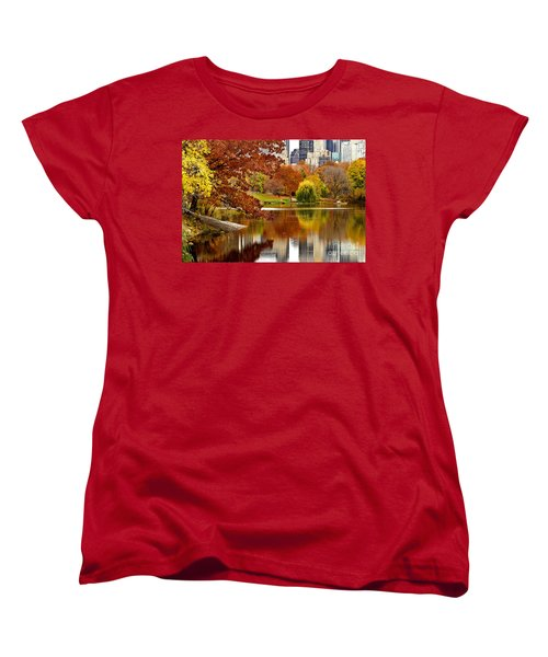 Autumn Colors In Central Park New York City Women's T-Shirt (Standard Cut) by Sabine Jacobs
