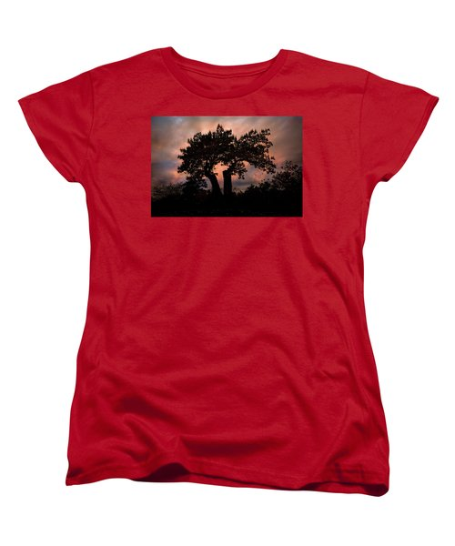 Women's T-Shirt (Standard Cut) featuring the photograph Autumn Evening Sunset Silhouette by Chris Lord