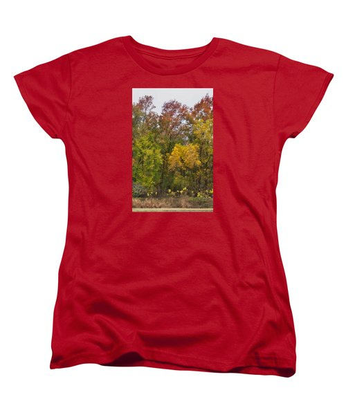 Women's T-Shirt (Standard Cut) featuring the photograph Autumn Explosion by Joan Bertucci