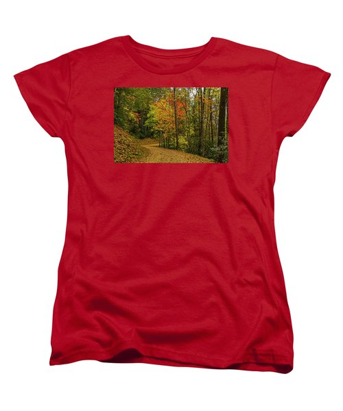 Autumn Forest Road. Women's T-Shirt (Standard Cut) by Ulrich Burkhalter