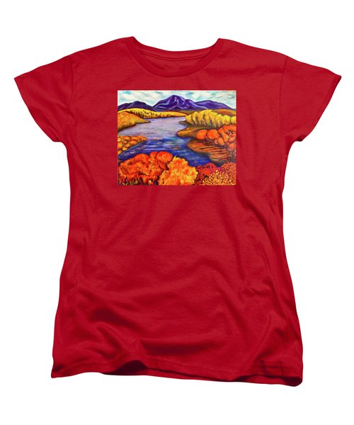 Women's T-Shirt (Standard Cut) featuring the painting Autumn Hues by Rae Chichilnitsky