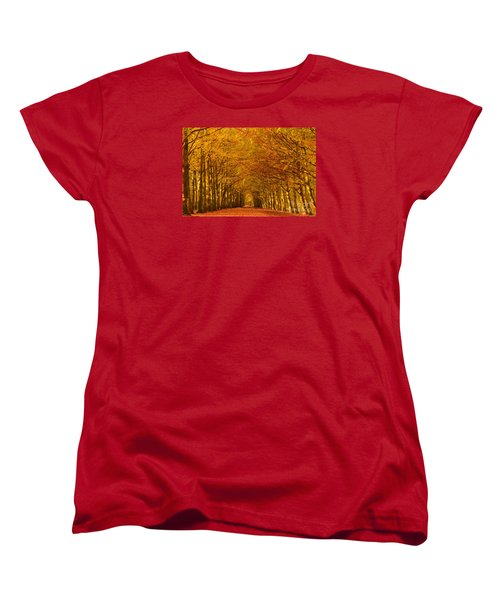 Autumn Lane In An Orange Forest Women's T-Shirt (Standard Cut) by IPics Photography