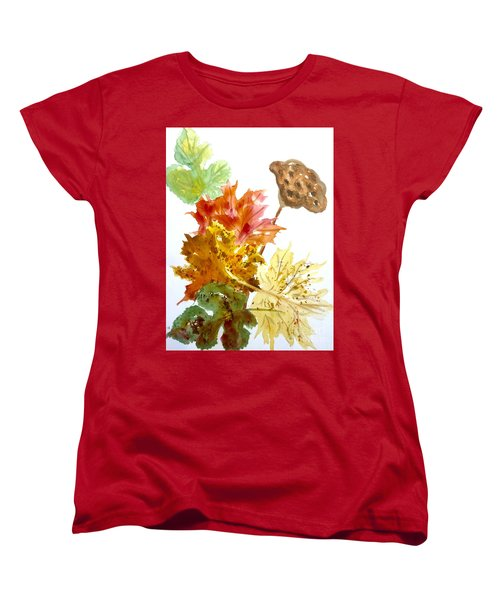 Autumn Leaves Still Life Women's T-Shirt (Standard Cut) by Ellen Levinson