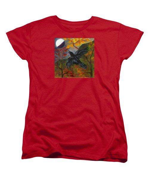 Autumn Moon Raven Women's T-Shirt (Standard Cut) by FT McKinstry