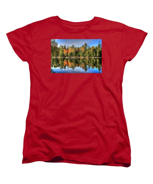 Women's T-Shirt (Standard Cut) featuring the photograph Autumn Reflections Of Maine by Shelley Neff