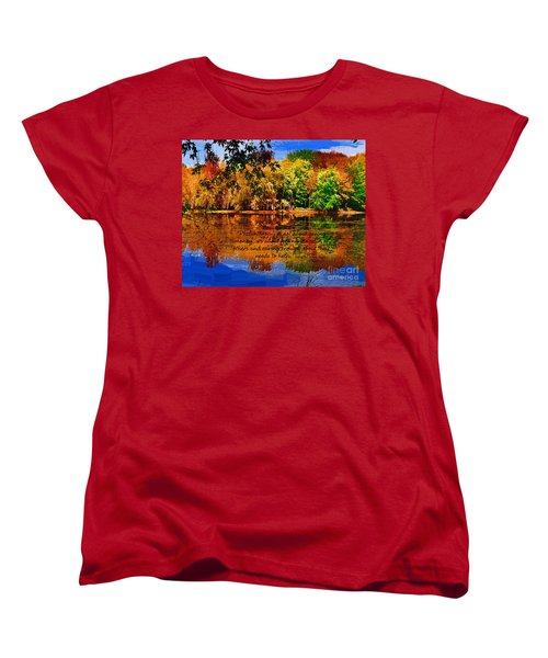 Autumn Serenity Philanthropy Painted Women's T-Shirt (Standard Cut) by Diane E Berry