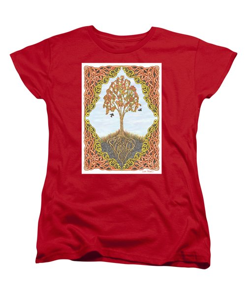 Autumn Tree With Knotted Roots And Knotted Border Women's T-Shirt (Standard Cut) by Lise Winne