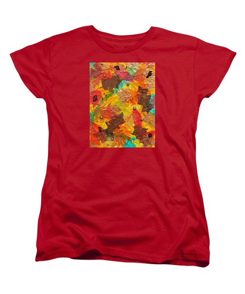 Autumn Leaves Underfoot Women's T-Shirt (Standard Cut) by Michele Myers