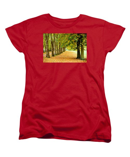 Women's T-Shirt (Standard Cut) featuring the photograph Autumn Walk by Colin Rayner