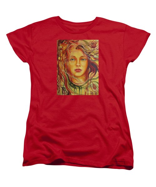 Women's T-Shirt (Standard Cut) featuring the painting Autumn Wind 2 by Elena Oleniuc