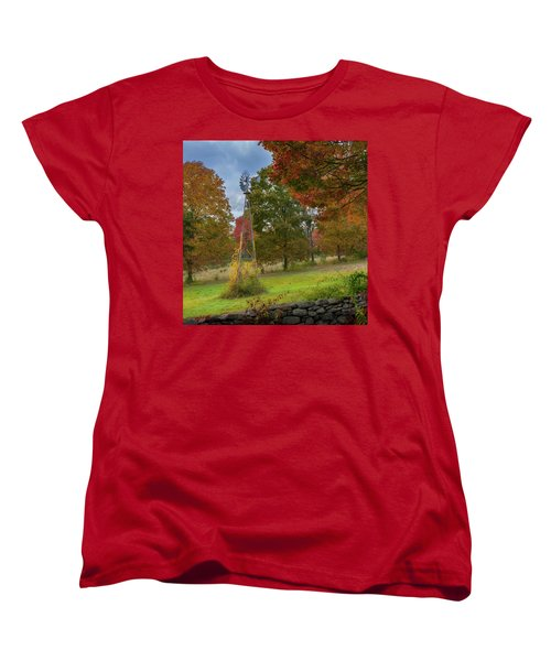 Women's T-Shirt (Standard Cut) featuring the photograph Autumn Windmill Square by Bill Wakeley