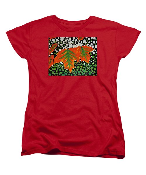 Women's T-Shirt (Standard Cut) featuring the painting Autumns Kiss by Kathleen Sartoris