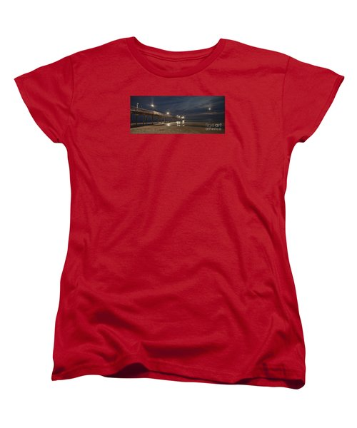 Avon Pier At Night Women's T-Shirt (Standard Cut) by Laurinda Bowling