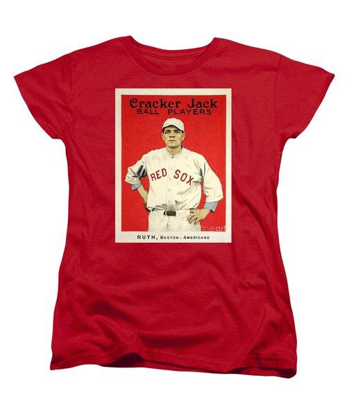 Babe Ruth Cracker Jack Card Women's T-Shirt (Standard Cut) by Jon Neidert
