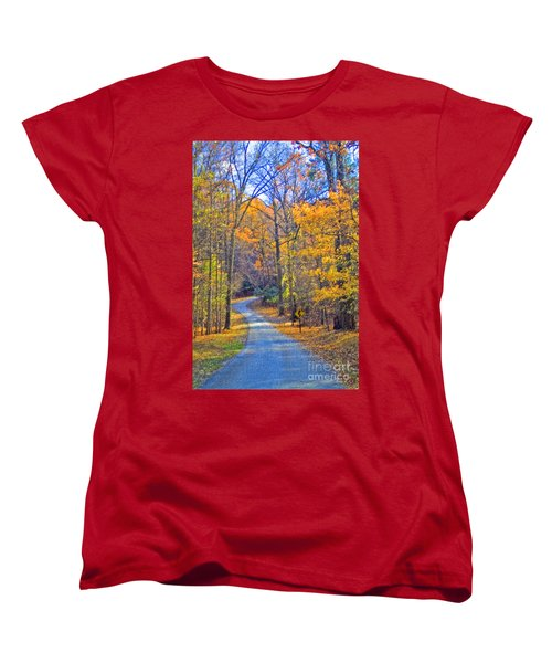 Women's T-Shirt (Standard Cut) featuring the photograph Back Road Fall Foliage by David Zanzinger