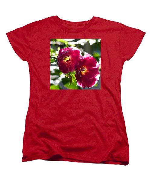 Backlit Roses In My Garden Women's T-Shirt (Standard Cut) by Anna Porter