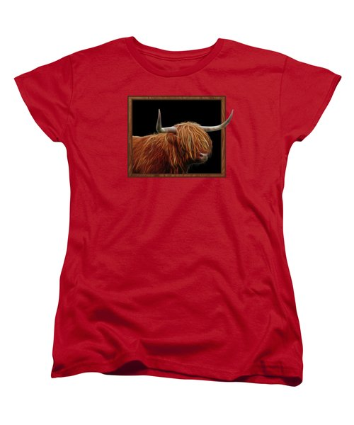 Bad Hair Day - Highland Cow - On Black Women's T-Shirt (Standard Cut) by Gill Billington