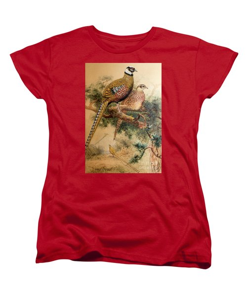 Bar-tailed Pheasant Women's T-Shirt (Standard Cut) by Joseph Wolf