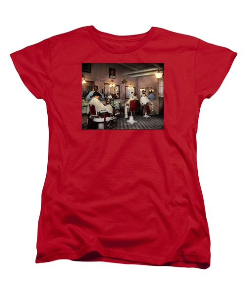Women's T-Shirt (Standard Cut) featuring the photograph Barber - Senators-only Barbershop 1937 by Mike Savad