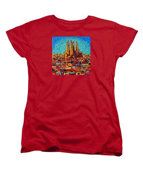 Barcelona Abstract Cityscape - Sagrada Familia Women's T-Shirt (Standard Cut) by Ana Maria Edulescu