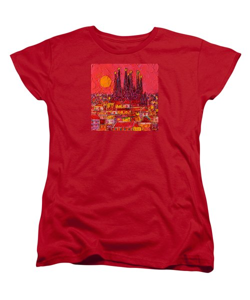 Barcelona Moon Over Sagrada Familia - Palette Knife Oil Painting By Ana Maria Edulescu Women's T-Shirt (Standard Cut) by Ana Maria Edulescu