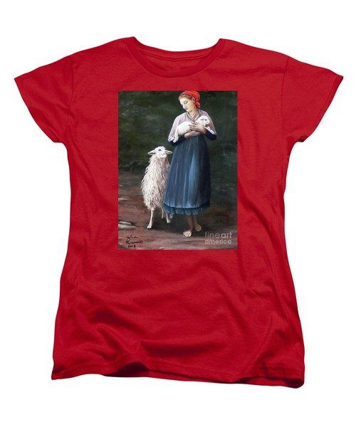 Barefoot Shepherdess Women's T-Shirt (Standard Cut) by Judy Kirouac
