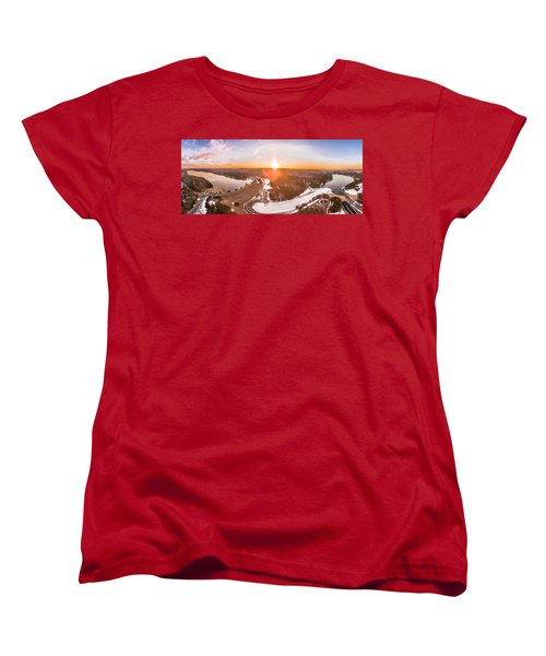 Barkhamsted Reservoir And Saville Dam In Connecticut, Sunrise Panorama Women's T-Shirt (Standard Cut) by Petr Hejl