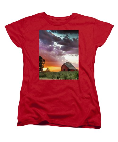 Women's T-Shirt (Standard Cut) featuring the photograph Barn In Stormy Skies by Dawn Romine