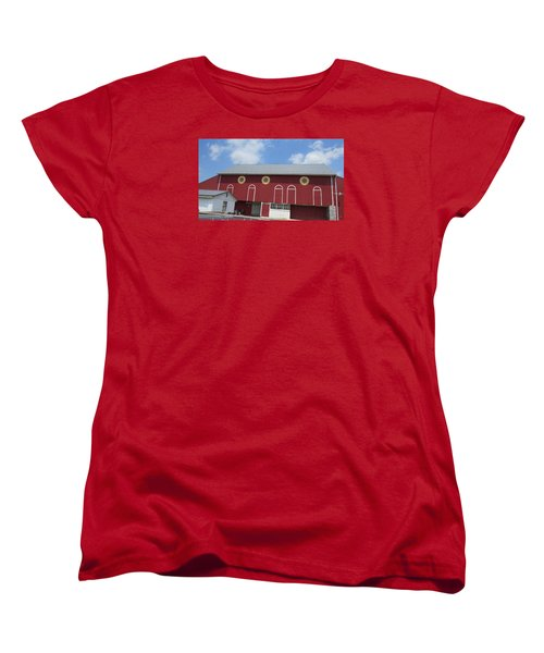 Barn With Hex Signs Women's T-Shirt (Standard Cut) by Jeanette Oberholtzer